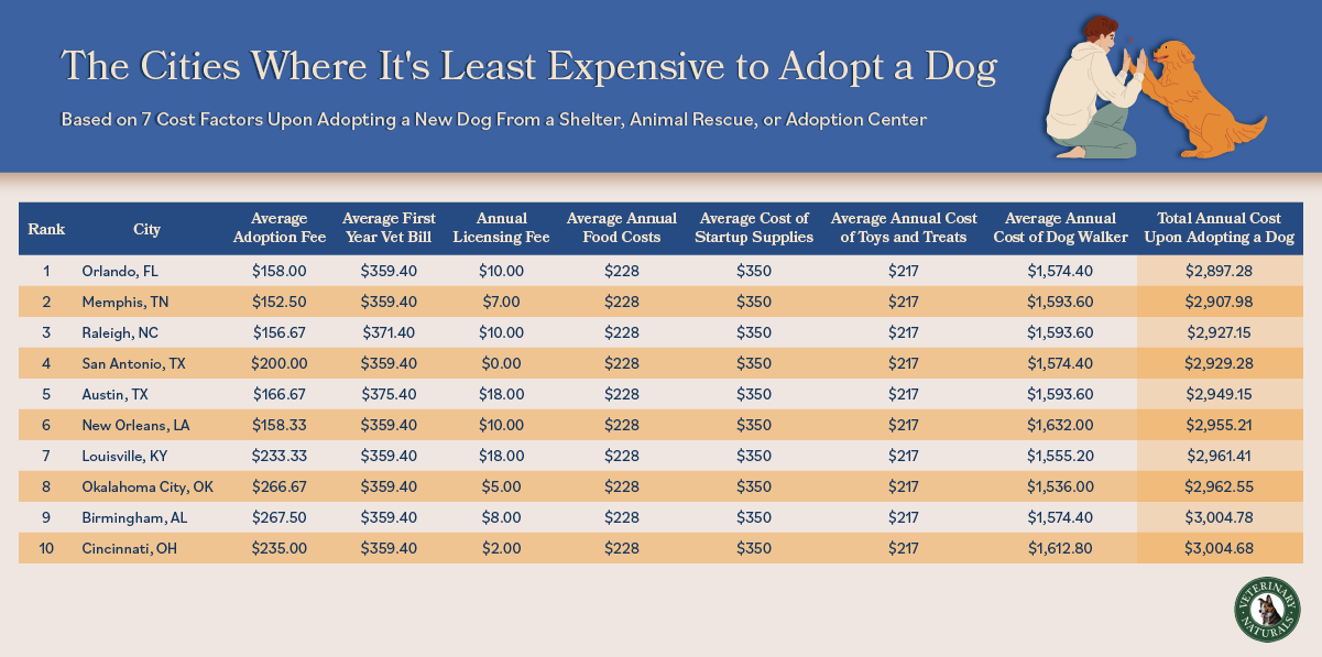 List of US cities where it is least expensive to adopt a dog